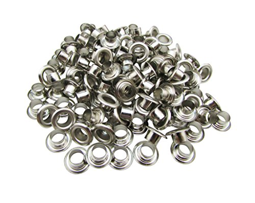 Amanaote 10mm Internal Hole Diameter Silvery Eyelets Grommets with Washer Self Backing Pack of 80 Sets