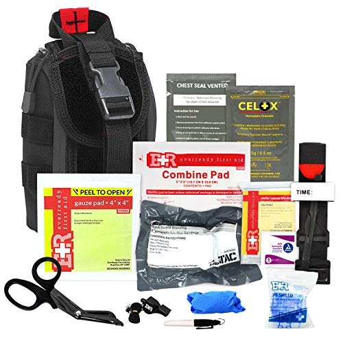 Meditac Premium Tactical Trauma IFAK Kit with Tourniquet Celox Hemostatic Granules and Pressure Bandage in Molle Pouch Bleeding Control Kit  Black