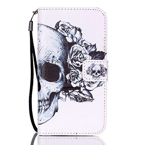 ISAKEN Kompatibel mit Samsung Galaxy S7 Hülle, PU Leder Geldbörse Wallet Hülle Ledertasche Handyhülle Tasche Hülle Schutzhülle mit Handschlaufe Standfunktion für Samsung Galaxy S7 - Skull Blumen