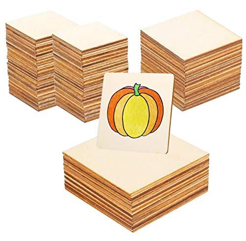 Liuer 100PCS Madera Manualidades Discos Cuadrados Rebanadas Placa Cuadrada de Madera Rodajas de Madera Troncos Madera para Decoraciones de Regalos,Manualidades,Pirograbado(5CM/8CM/10CM)