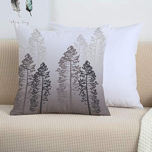 Decorative Soft Polyester Cushion,Country,Pine Trees in The Forest on Foggy Seem Ombre Backdrop Wildlife A,Covers 45cm x 45cm/Square Throw Pillowcases for Sofa Bedroom with Invisible Zipper 18x18 Inch