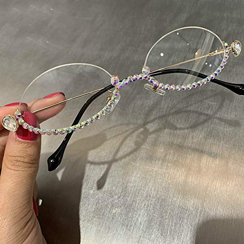 2019 BLU-Ray Pretection Retro Ronda Gafas Mujeres Vintage Steampunk Gafas Sol Hombres Clear Lens Rhinestone Gafas de Sol Oro Blanco