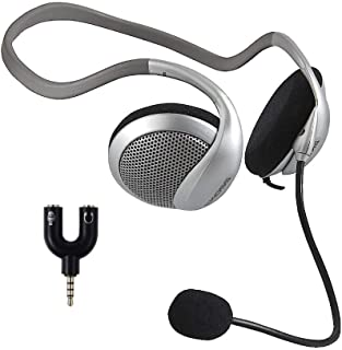 Koss CS80-ADP, Communication Headset with 3.5mm Headphone Splitter Adapter (2 TRS Female to 1 TRRS Male)