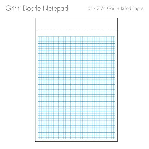 """Grifiti Dootle Pad 5"""" X 7.5"""" Mini Junior Legal 5 Pack Brown Craft Art Cover Fits Dootle Mini Folio Blue 0.5"""" Ruled 0.125"""" Grid Front Blank Back Paper Notepad for Writing Notes, Drawing, Doodling Photo #6"""