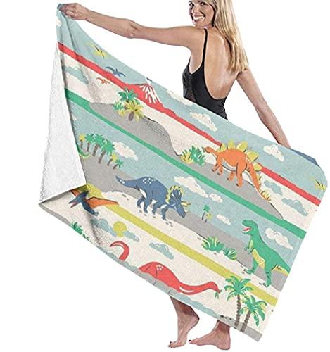 Toalla De Playa, Manta De Playa De Gran Tamaño con Babero The Age of Dinosaurs para Adultos Y Niños, Súper Suave Y Absorbente Rápido