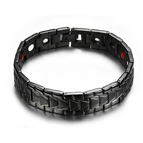 Beydodo Modeschmuck Männer Edelstahl Armband Rechteck Biker Panzerkette Fahrradkette Schwarz Herrenarmband Link Armbänder Länge 21CM