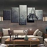 DGFHW 5 Piezas Cuadros En Lienzos Cuadros Modernos Impresión De Imagen Artística Decorativo para Salón O Dormitorio (150X80Cm) Guantes De Boxeo Motivación Deportiva