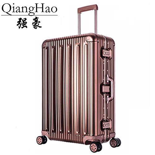 Mdsfe 20'25' 29'inch 100% Aluminum alloy Luggage Suitcase Travel Traveling Trolley Rolling Spinner Hardside Carry On Luggage Suitcase - Rose gold, 25'