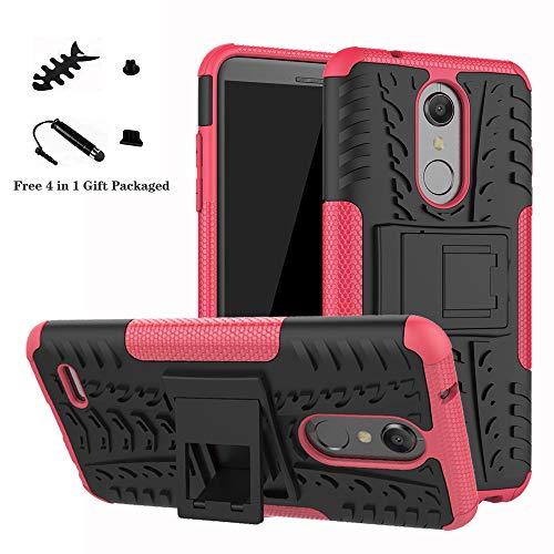 LiuShan LG K10 2018 Funda, Heavy Duty Silicona Híbrida Rugged Armor Soporte Cáscara de Cubierta Protectora de Doble Capa Caso para LG K10 2018 Smartphone(con 4 en 1 Regalo empaquetado),Rosa