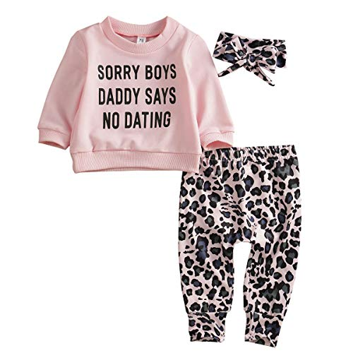 WangsCanis Kleinkind Baby Mädchen Kleidung DAD SAYS Sweatshirt Tops Leopard Hose Stirnband Set Leggings 3tlg Outfits(Rosa,6-12 Monate)