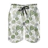 Bañador para hombre, diseño hawaiano Monstera, palmeras, hojas, playa, corto, secado rápido, estampado con forro de malla, pantalones cortos con cordón ajustable, Hombre, Blanco, 6XL
