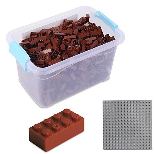 Katara Juego De 520 Ladrillos Creativos En Caja Con Placa De Construcción 100% Compatibles Con Lego Classic, Sluban, Papimax, Q-bricks, Color Marrón (1827) , color/modelo surtido