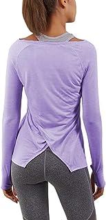 Bestisun كم طويل اليوغا تمرين القمم خفيفة الوزن قمصان ثقوب الإبهام ملابس رياضية للنساء