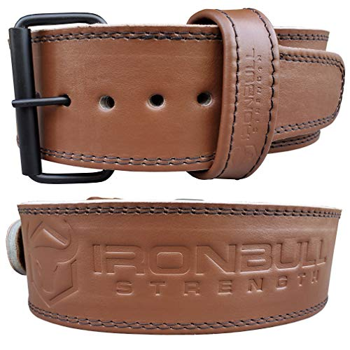 Premium Genuine Leather Powerlifting Belt - 10mm Single Prong - 4-inch Wide - Advanced Weight Lifting Belt – Lower Back Support for Weightlifting and Heavy Power Workout (Large, Brown)