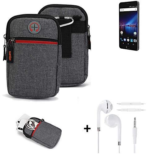 K-S-Trade® Gürtel-Tasche + Kopfhörer Für Phicomm Passion 4 Handy-Tasche Schutz-hülle Grau Zusatzfächer 1x