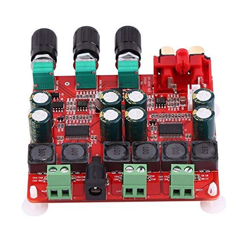 Placa de amplificador de potencia, TPA3116D2 2,1 canales de sonido Placa de amplificador de potencia digital de alta eficiencia y bajo calor, módulo AMP de alta potencia, bajo calor.