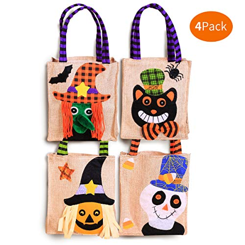 Atonofun 4 Packs Halloween Tote Bag, Halloween Candy Bags for Kids, Trick or Treat Bags Reusable Canvas Goody Bags Pumpkin Gift Bags for Children Halloween Themed Party Favor Supplies