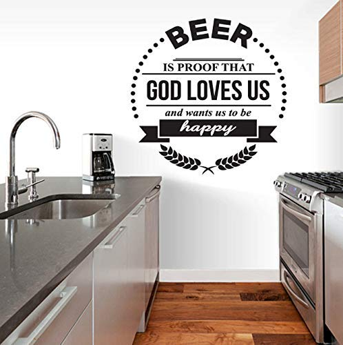 Thuis Keuken Bar Muurstickers Quotes Bier Leeft Bewijs Dat God Van Ons Houdt Vinyl Muurstickers Voor Bar Decoratie Poster 57X57Cm