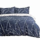 Bedsure Duvet Cover Set with Zipper Closure-Branch and Plum Blue Printed Pattern,Full/Queen (90x90 inches)-3 Pieces (1 Duvet Cover + 2 Pillow Shams)-110 gsm Ultra Soft Microfiber