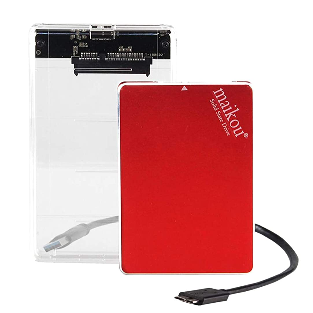 適応衣類控えめなFlameer 2.5インチ SATA 3.0 ソリッドステートドライブ 1TB SSD 高速 USB 3.0 SSDカバーとUSB3.0アダプターケーブル付き レッド