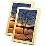 Yorbay Marco de Fotos de Aluminio Juego de 2, pared y mesa color dorado con Vidrio real (10 x 15 cm)