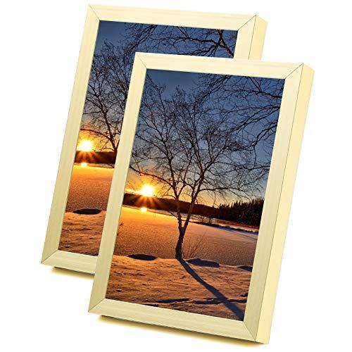 Yorbay Bilderrahmen 10x15cm 2er Set aus Alulegierung zum Aufstellen, Aufhängen Fotorahmen Bildabdeckung aus Glas Foto Collage Gold Mehrweg