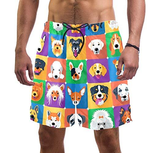 Pantalones cortos de playa para perros y mascotas pastor terrier labrador animales domésticos ilustración traje de baño elástico para hombre, L multicolor XXL