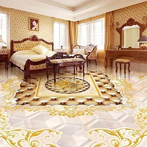 Azulejos de piso 3D de estilo europeo Mural de piso autoadhesivo Sala de estar Dormitorio Baño Hotel Papel tapiz de piso de lujo PVC 3D Sticker-150X105cm