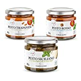 CAMPO D'ORO Set 3 Piezas PESTO 180gr. CON PECORINO DOP TRAPANESE CON ALMENDRAS DE AVOLA, ROJO CON RICOTTA DE OVEJA, especialidades sicilianas para recetas, salsa preparada siciliana 100% Made in Italy