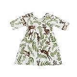 Kehen Toddler Baby Girl Floral Leaves Deer Print Half Sleeve Princess Pageant Dresses (12M, 1)