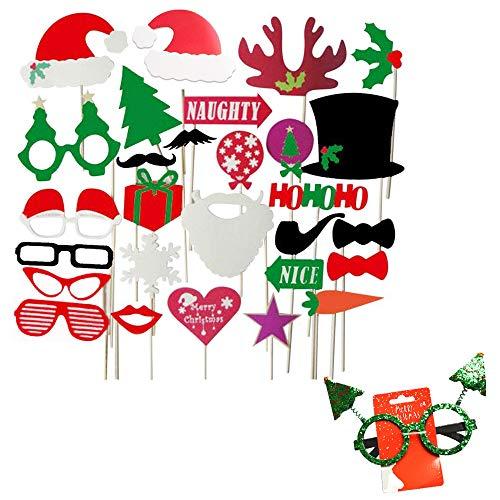 Fotorequisiten Booth Weihnachten lustige Bilder Foto Stütze Weihnachtliches Photo Booth Requisiten für Party Deko 28 Stück mit Brille Schnurrbart rote Lippen Hirsch Horn Weihnachtsmütze und Brille