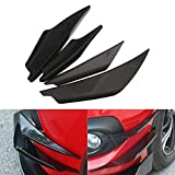 ViCiCA 4Pcs/Set Diffuser Shark Fin Kit for Car Spoiler Wing, Auto Car Carbon Fiber Texture Decoration Front Bumper Side Canards Splitter Fins Universal Black