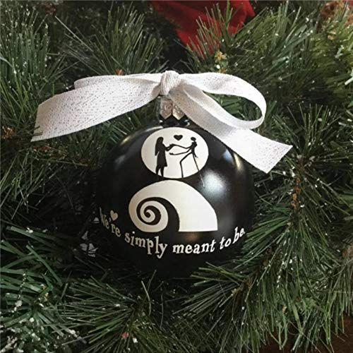 BYRON HOYLE Adorno de boda personalizado para boda, regalo de pesadilla antes de Navidad, diseño de árbol de dibujos animados en blanco y negro