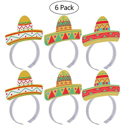 6 STÜCKE Cinco De Mayo Fiesta Party Bunte Sombrero Stirnbänder Zubehör