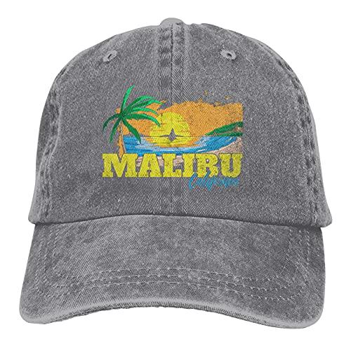 Leumius Malibu California Ca Souvenir Vintage Sombreros, Algodón Ajustable Gorra De Béisbol Lavable Sombrero De Vaquero Golf Sombreros