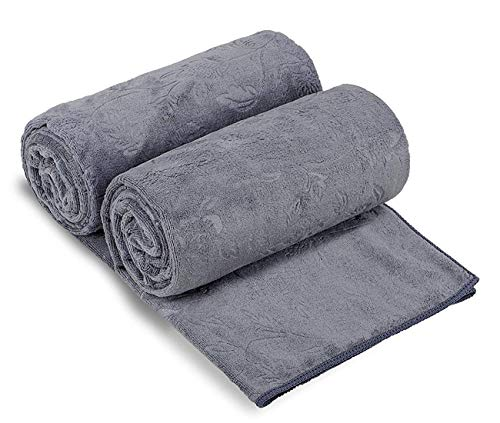 JML Bath Towels 2 Pack, Oversized Microfiber Bath Towels(30' x 60'), Soft and Super Absorption Multipurpose Towels for Bath, Beach, Pool, Sport - Grey Floral Pattern