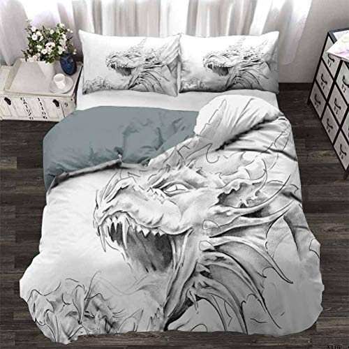 UNOSEKS LANZON Duvet Cover Set Sketch of A Medieval Spiritual Character Mythological Creature Abstract Design Light-Weight Duvet Cover Set Easy to Wash and Dry Light Grey White Twin - 180 x 230 CM