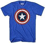 Marvel Men's 80s Captain 2 Short Sleeve T-Shirt, Royal Heather, Large