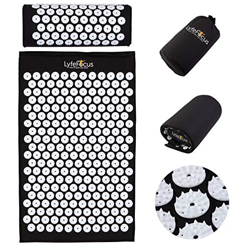 LyfeFocus Acupressure Mat and Pillow Set - Softened Spike Acupuncture Mat...