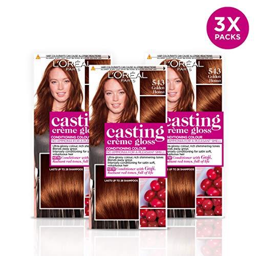 L'Oréal Casting Crème Gloss 543 Golden Henna Brown Semi-Permanent Haarfarbe, 3er Pack