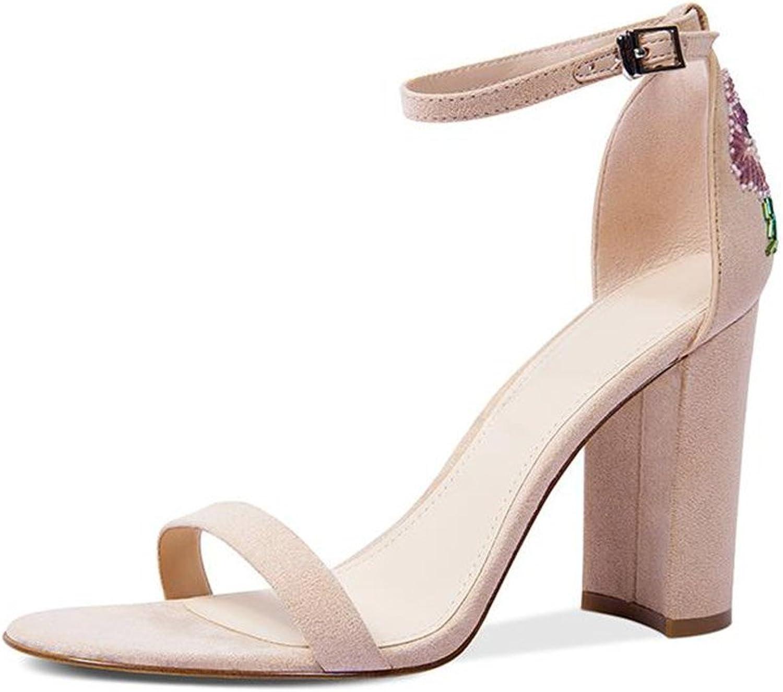 JIANXIN Damen Sommer Chunky Sandalen Mit High Heels Mode Mode Leder Perlen Sandalen. (Farbe   Aprikose, Größe   35)  Bestellen Sie jetzt mit großem Rabatt und kostenlosem Versand