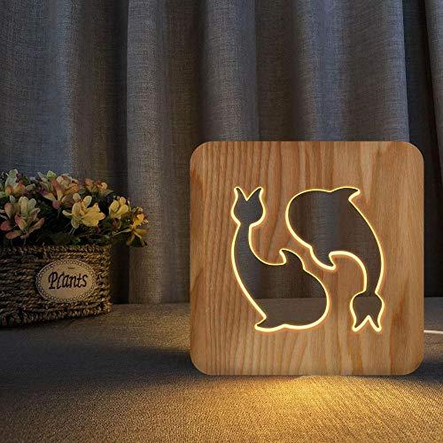 Luz de noche de madera 3D, luz de noche de pez linda y creativa, se puede tallar con USB, lámpara de mesa blanca cálida, lámpara de noche, regalo de jardín de infantes