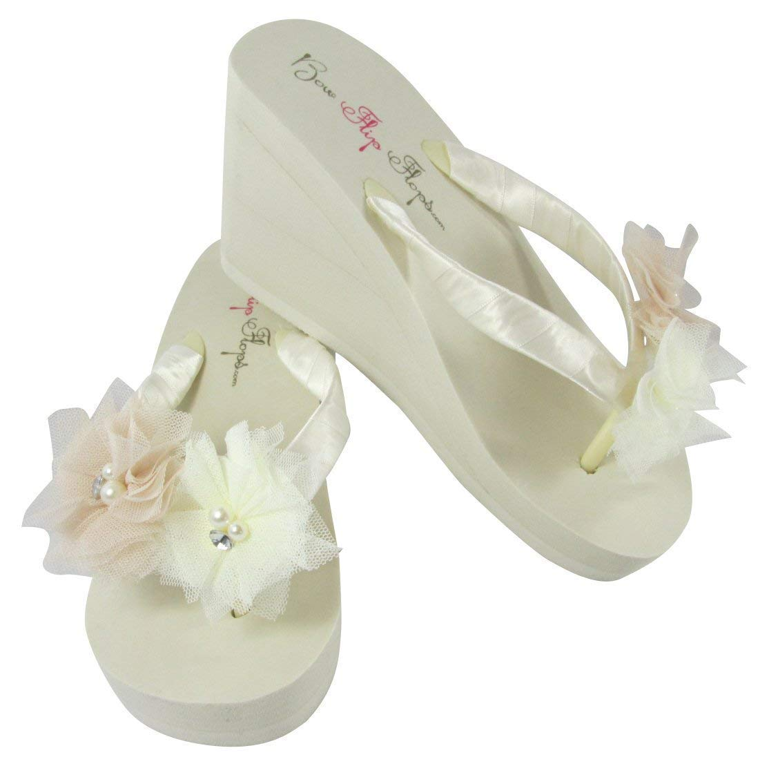 Tulle Pearl Rhinestone Wedge Flip Free Shipping Cheap Bargain Gift White Flops for Sale SALE% OFF Ivory in