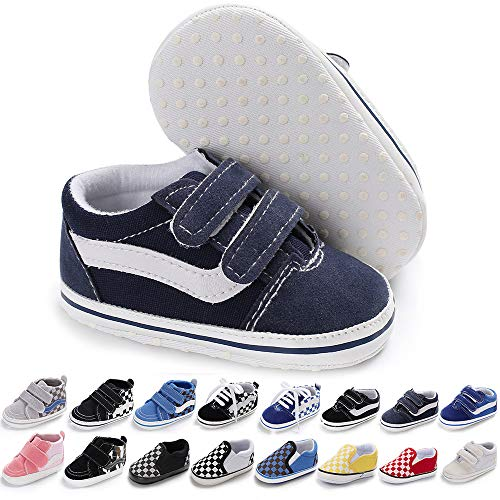 Baby Girls Boys Canvas Sneakers Soft Sole High-Top Ankle Infant First Walkers Crib Shoes (0-6 Months Infant, G/Black)