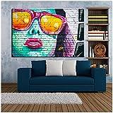 cuadros decoracion salon Moderno Graffiti Art Pintura de pared para sala de estar Chica de moda Pintura en lienzo Póster con impresión digital Imagen de decoración del hogar 23.6x31.5in (60x80cm) x1p