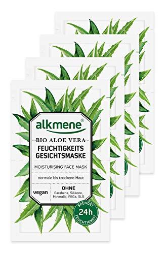alkmene Gesichtsmaske mit Bio Aloe Vera - Feuchtigkeitsmaske für normale bis trockene Haut - vegane Gesichtsmasken ohne Silikone, Parabene, Mineralöl, PEGs, SLS & SLES im 8er Pack (8x 6 ml)