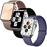 SSEIHI Correa de Apple Watch 42mm 44mm,Soft Sport Loop Reemplazo de Correa de Repuesto de Nylon Transpirable Ligero para la iWatch Serie 6/5/4/3/2/1,SE,Sport, Edition,Pink/Dark/Blue