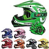 Leopard LEO-X17 Casques Motocross & Gants d'enfants & Lunettes pour Enfants - Vert M (51-52cm) - Casque de Moto de Bicyclette ATV ECE 22-05 Approbation