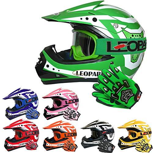 Leopard LEO-X17 Casco de Motocross para Niños Verde S (49-50cm) y Guantes S(5cm) y Gafas ECE Homologado