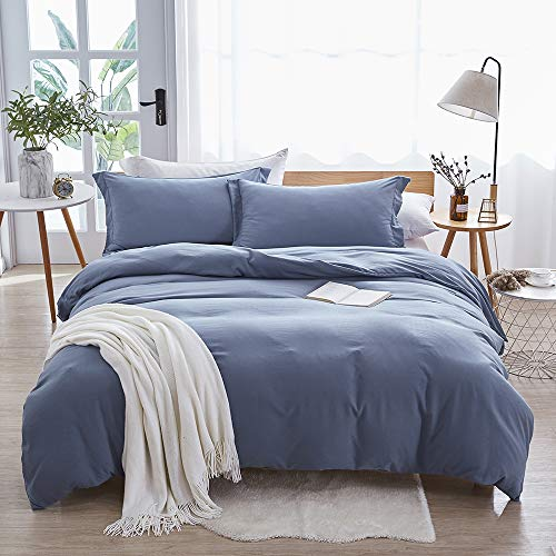 Dreaming Wapiti Duvet Cover Queen,100% Washed Microfiber 3pcs Bedding Duvet Cover Set,Solid Color - Soft and Breathable with Zipper Closure & Corner Ties (Haze Blue, Queen)
